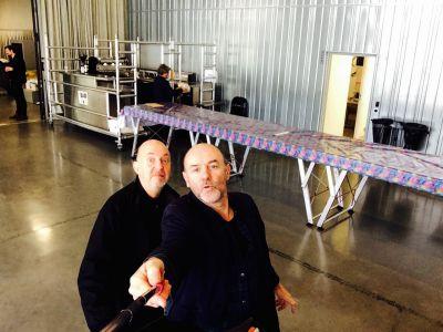 Thierry Poquet et Jacques Bonnaffé, selfie avec perche